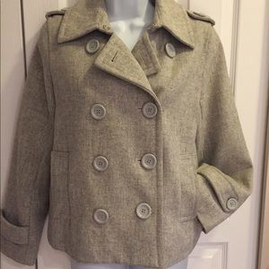 Jackets & Blazers - Heather gray wool double breasted pea coat